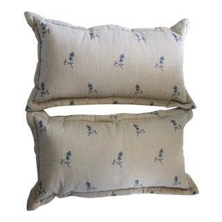 Oversized Blue Embroidery Linen Pillows - A Pair