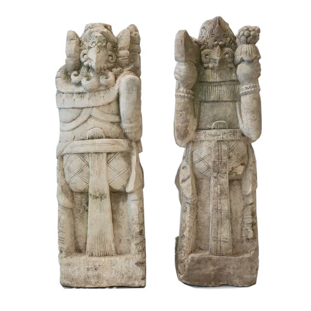 Antique Carved Sandstone Hindu Deities - A Pair - Image 5 of 7
