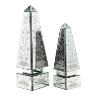 Decorative Etched Mirror Obelisks - A Pair