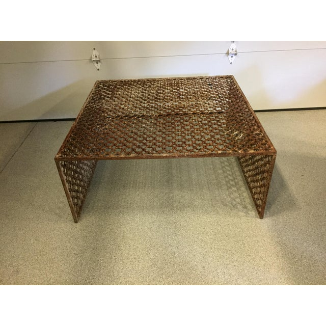 Rusted Iron Chain Link Coffee Table - Image 2 of 6