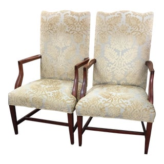 Vintage Solid Mahogany Hall Chairs - A Pair