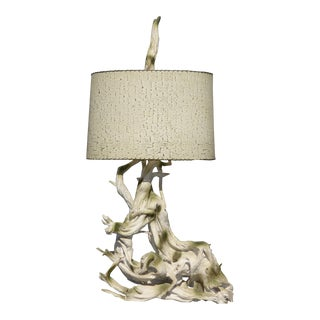 """Mid Century Modern 50"""" Tall White Driftwood Table Lamp"""