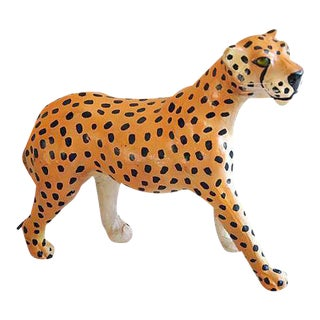 1970s Hand-Painted Leather Cheetah Figurine