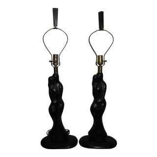 Vintage Sasha Heifetz Black Figural Lovers Cerused Oak Lamps - Pair