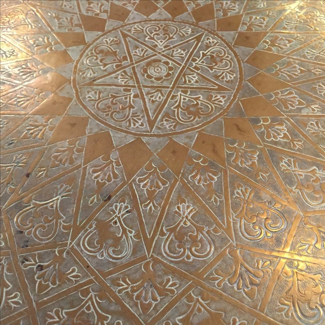 Moroccan Brass Tea Table - Image 5 of 6
