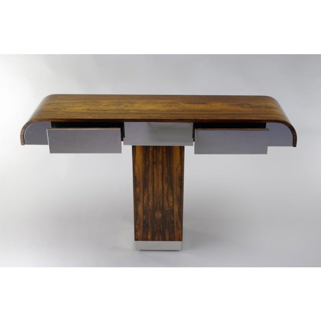 Rosewood & Chrome Pedestal Console - Image 6 of 11