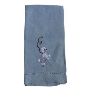 1950s Blue Dancing Poodle Dog Hand Towel