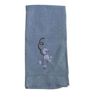 1950s Dancing Poodle Dog Hand Towel, in Blue