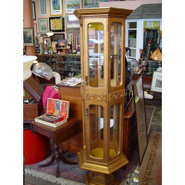 Hollywood Regency Gold Painted Curio Cabinet - Image 3 of 5