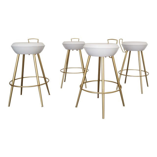 Mid-Century California Modern Bar Stools - Set of 4 - Image 1 of 11