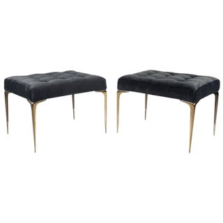 Pair of Italian Modern Ottomans or Benches with Solid Bronze Tapered Legs