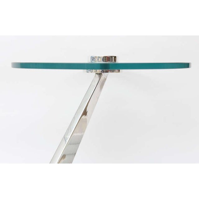 Image of Angled Sculptural Nickel Silver, Glass and Resin Side Table