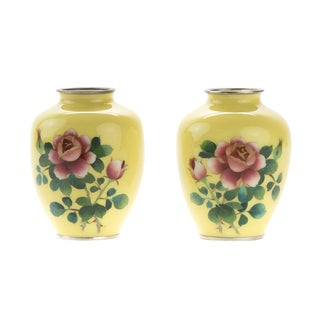 Beautiful Japanese Yellow Cloisonné Vases -a pair c.1940s