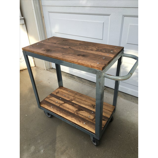 Image of Vintage Industrial Metal & Wood Rolling Bar Cart