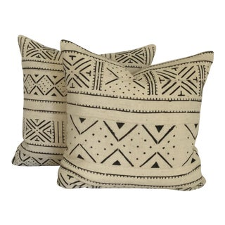 Vintage African White Mudcloth Pillows - A Pair