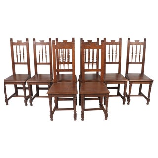 English Oak Dining Chairs - Set of 8