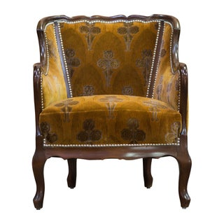 Orange Velvet Vintage Deco Club Chair