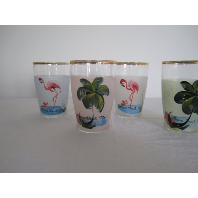 Image of Vintage Hand Painted Miami Beach Glasses - S/4