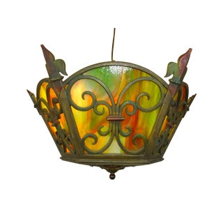 Bronze Slag Glass Spanish Revival Ceiling Fixture