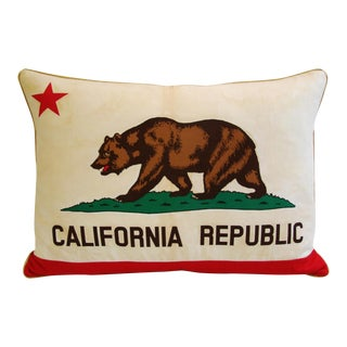 Custom Jumbo California Republic Bear Flag Feather & Down Pillow
