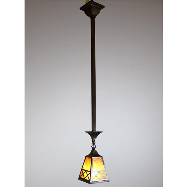Arts & Crafts Style Pendant Fixture. - Image 3 of 7