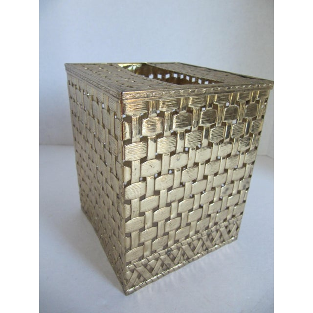 Basket-Weave Gold Tissue Box - Image 4 of 4