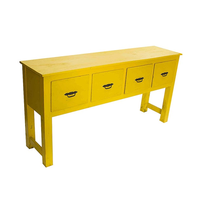 Southwestern yellow console table chairish for Sofa table yellow