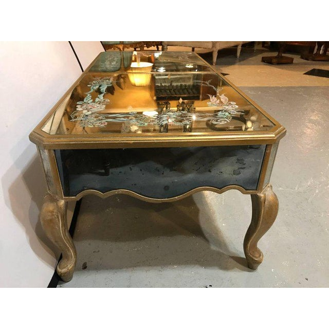 Hollywood Regency Italian Paint Decorated Sliding Mirror Top Coffee Low Table - Image 9 of 10