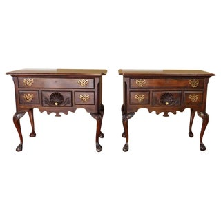 Chippendale Style Mahogany Lowboys - Pair
