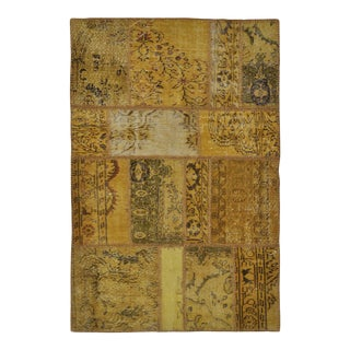 "Turkish Over-Dyed Distressed Patchwork Area Rug - 3'11"" X 5'10"""