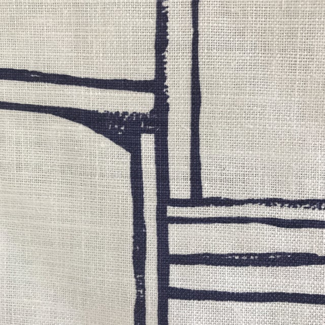 Christopher Farr Cloth Indigo White Linen Fabric- 2 Yards - Image 6 of 6