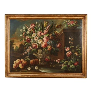 Pair of 19th Century Italian School Still Life Large Oil-On-Canvas Painting within a Giltwood Frame