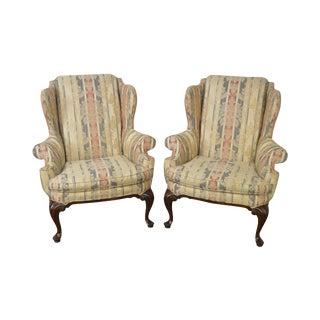 Drexel Heritage Mahogany Frame Queen Anne Style Wing Chairs - A Pair