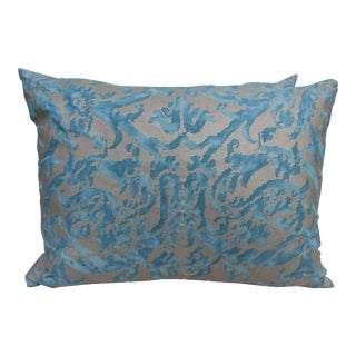 Pair of Fortuny Pillows w/ Velvet Backs