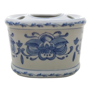 Blue & White Chinoiserie Toothpaste & Brush Holder