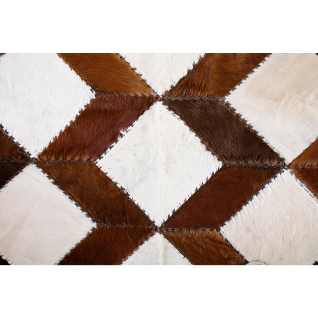 "Square Chevron Cowhide Patchwork Area Rug - 5'5"" x 7'11"" - Image 3 of 8"