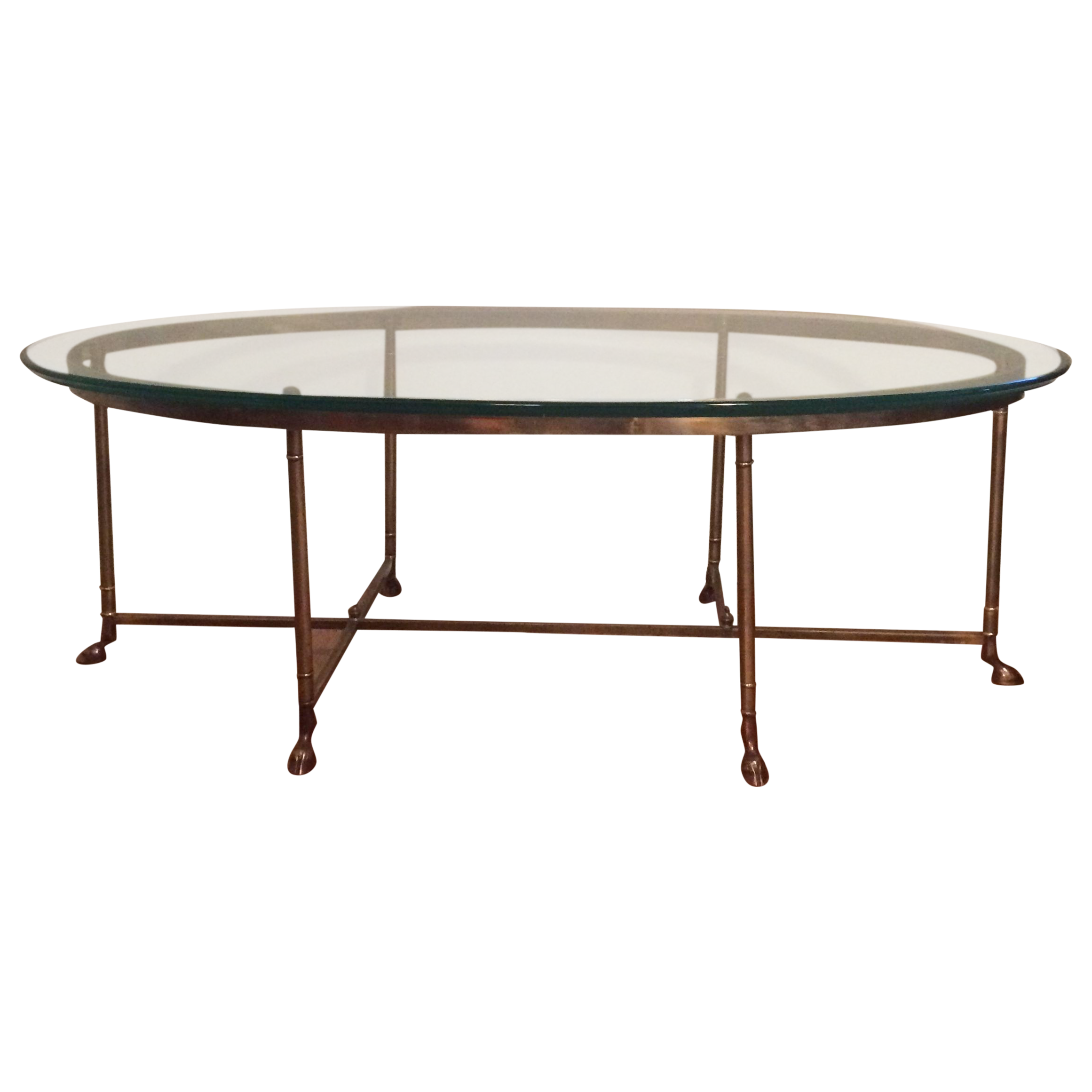 Le Barge Hollywood Regency Brass Oval La Barge 6 Leg/Hoof Coffee Table    Image