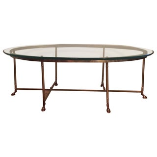 Le Barge Hollywood Regency Brass Oval La Barge 6 Leg/Hoof Coffee Table