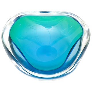 Italian Murano Sommerso Geode Flat Cut Polished Glass Bowl