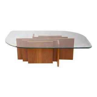 Geometric Teak Coffee Table With Glass Top