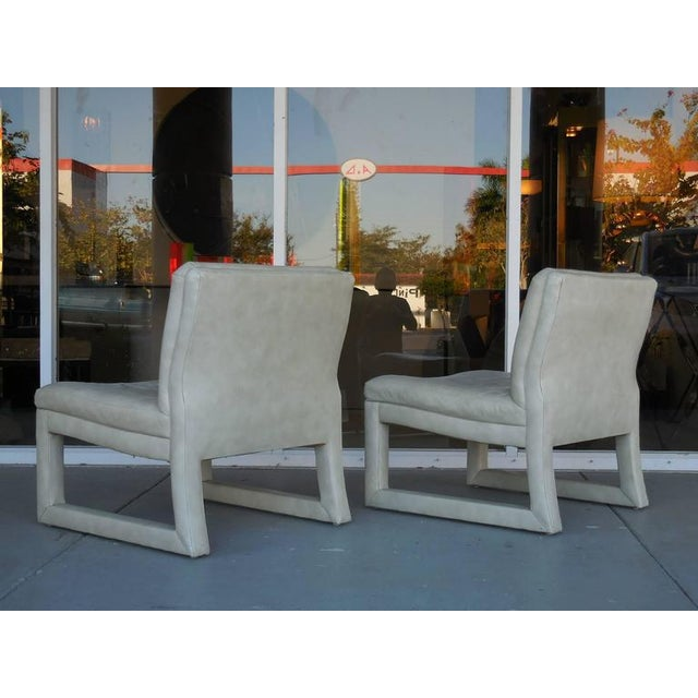 Michael Taylor for Baker Leather Lounge Chairs - A Pair - Image 3 of 6