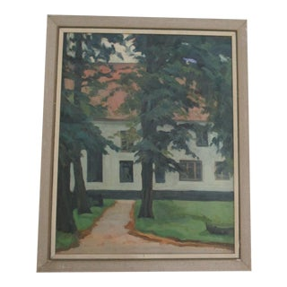 Oil Painting of a House Set in Evergreens Vintage