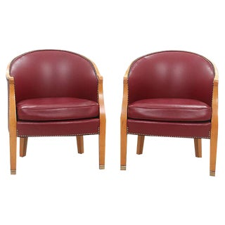 Century Furniture Leather Barrel Chairs - A Pair