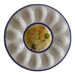 Modern Spanish Handmade Ceramic Deviled Egg Server
