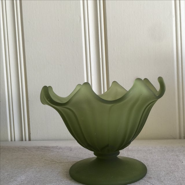 Green Ceramic & Frosted Glass Vases - Set of 3 - Image 7 of 11