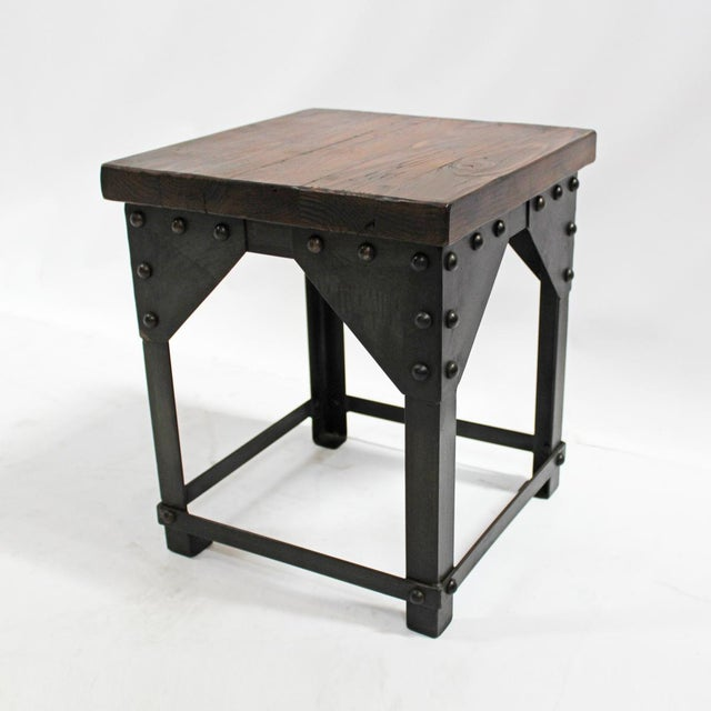 Reclaimed wood iron side table chairish for Iron and wood side table