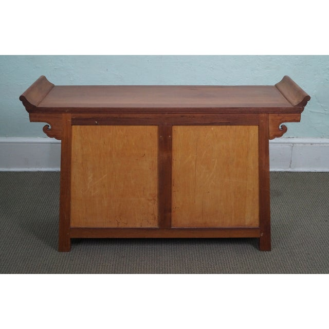 Image of Vintage Asian Teak Wood Pagoda Top Console Cabinet