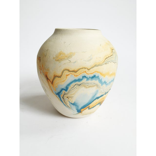 Vintage Blue & Orange Nemadji Pottery Vase - Image 4 of 5