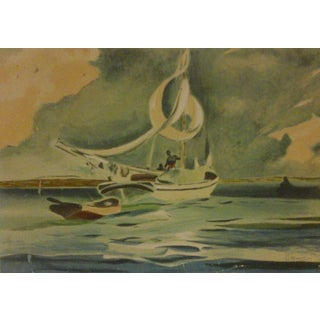 """Vintage """"On the Sea"""" Print, 1910"""