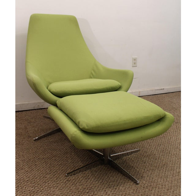 Mid Century Danish Modern Lime Green Swivel Lounge Chair